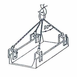 Схема строповки железобетонного лотка
